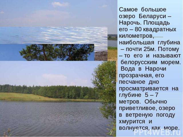 Самое большое озеро Беларуси – Нарочь. Площадь его – 80 квадратных километров, наибольшая глубина – почти 25м. Потому – то его и называют белорусским морем. Вода в Нарочи прозрачная, его песчаное дно просматривается на глубине 5 – 7 метров. Обычно п…