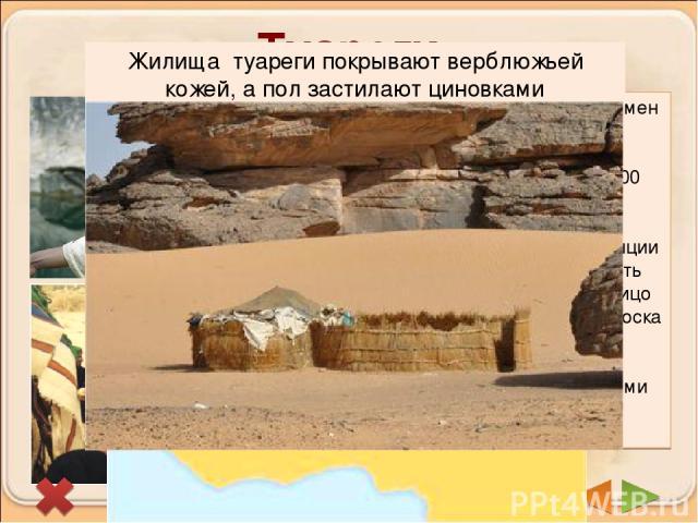Туареги Важнейшие из берберийских племен Северной Африки. Они живут во всей полосе между Атласскими горами и р. Нигер. Всего около 300 тыс.человек. Туареги называют себя «Люди покрывала», потому что по традиции мужчины с 18 лет начинают носить покры…