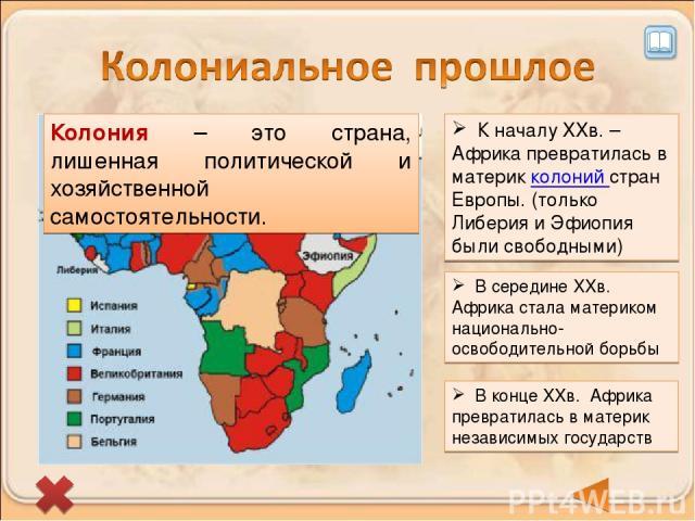 К началу XXв. – Африка превратилась в материк колоний стран Европы. (только Либерия и Эфиопия были свободными) Колония – это страна, лишенная политической и хозяйственной самостоятельности. В середине XXв. Африка стала материком национально-освободи…