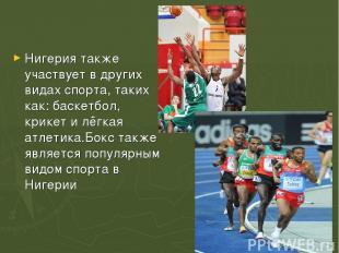 Нигерия также участвует в других видах спорта, таких как:баскетбол, крикетил