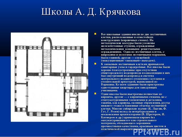 Школы А. Д. Крячкова Все школьные здания имели по две лестничных клетки, расположенные в огнестойких конструкциях (кирпичных стенах). На металлические косоуры были уложены железобетонные ступени, огражденные металлическими коваными решетчатыми ог…