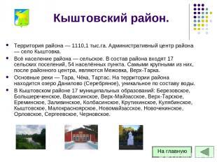Кыштовский район. Территория района — 1110,1 тыс.га. Административный центр райо