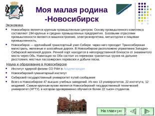 Экономика Новосибирск является крупным промышленным центром. Основу промышленног