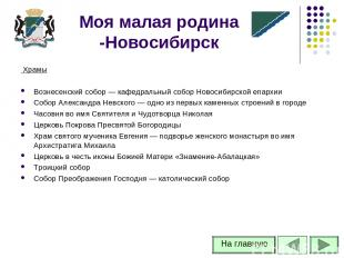 Храмы Вознесенский собор — кафедральный собор Новосибирской епархии Собор Алекса