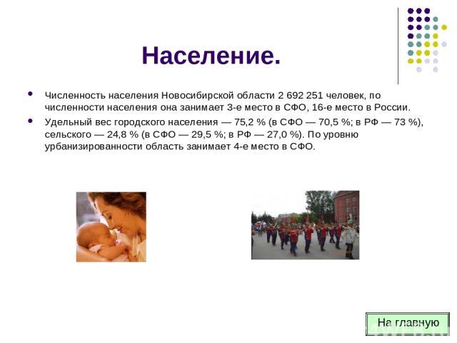 Население. Численность населения Новосибирской области 2 692 251 человек, по численности населения она занимает 3-е место в СФО, 16-е место в России. Удельный вес городского населения — 75,2 % (в СФО — 70,5 %; в РФ — 73 %), сельского — 24,8 % (в СФО…