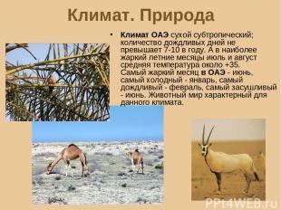 Климат. Природа Климат ОАЭ сухой субтропический; количество дождливых дней не пр