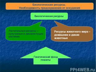 Биологические ресурсы. Необходимость предохранения от оскудения Биологические ре