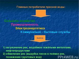 Главные потребители пресной воды: Сельское хозяйство Промышленность Электроэнерг