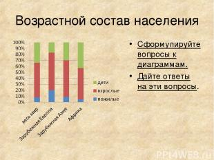Возрастной состав населения Сформулируйте вопросы к диаграммам. Дайте ответы на