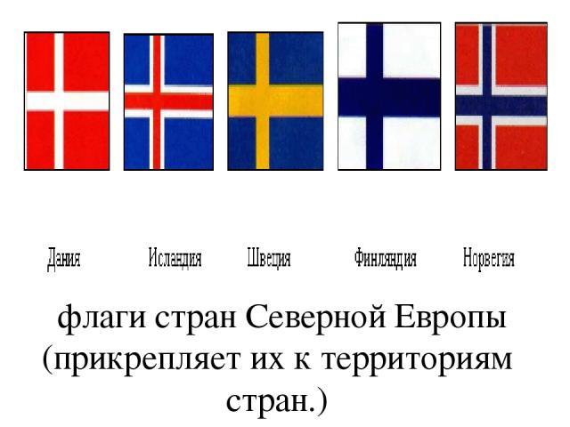 флаги стран Северной Европы (прикрепляет их к территориям стран.)