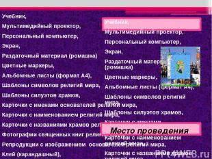Учебник, Мультимедийный проектор, Персональный компьютер, Экран, Раздаточный мат