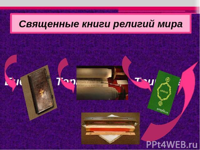 Библия, Тора, Коран, Трипитака Священные книги религий мира