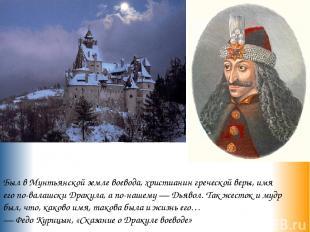 Был в Мунтьянской земле воевода, христианин греческой веры, имя его по-валашски