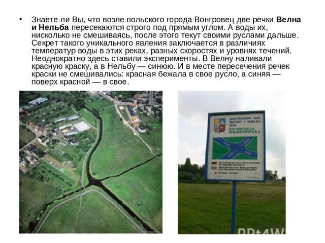 Знаете ли Вы, что возле польского города Вонгровец две речки Велна и Нельба пересекаются строго под прямым углом. А воды их, нисколько не смешиваясь, после этого текут своими руслами дальше. Секрет такого уникального явления заключается в различиях …