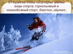 В Норвегии очень популярны зимние виды спорта: горнолыжный и конькобежный спорт,