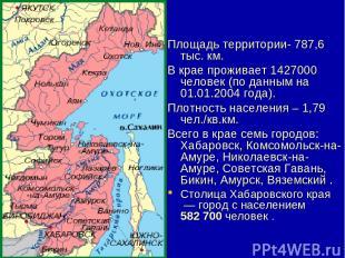 Площадь территории- 787,6 тыс. км. В крае проживает1427000 человек (по данным н
