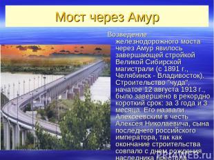 Мост через Амур Возведение железнодорожного моста через Амур явилось завершающей