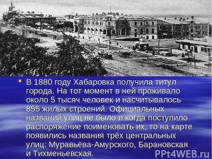 В 1880 году Хабаровка получила титул города. На тот момент в ней проживало около