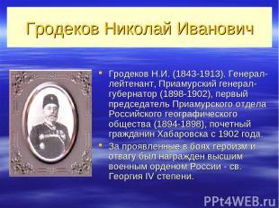 Гродеков Николай Иванович Гродеков Н.И. (1843-1913). Генерал-лейтенант, Приамурс