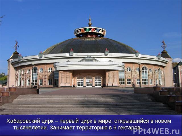 Хабаровский цирк – первый цирк в мире, открывшийся в новом тысячелетии. Занимает территорию в 6 гектаров.