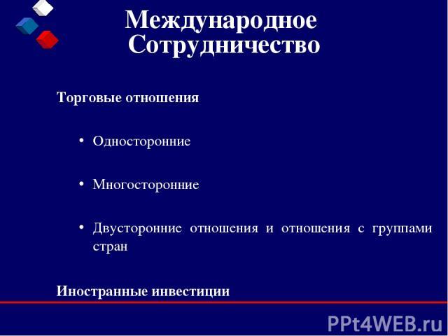 Международное Сотрудничество Торговые отношения Односторонние Многосторонние Двусторонние отношения и отношения с группами стран Иностранные инвестиции