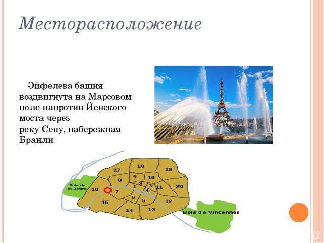 Месторасположение Эйфелева башня воздвигнута наМарсовом поленапротивЙенского мостачерез рекуСену,набережная Бранли