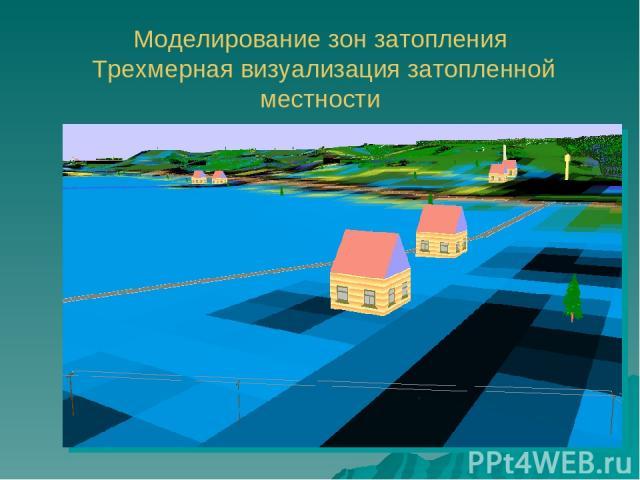 Моделирование зон затопления Трехмерная визуализация затопленной местности