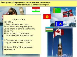 Тема урока: Современная политическая карта мира. Классификация и типология стран