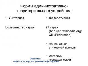 Формы административно-территориального устройства Унитарная Большинство стран Фе