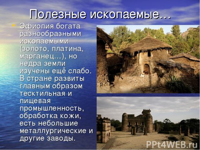 Полезные ископаемые… Эфиопия богата разнообразными ископаемыми (золото, платина, марганец…), но недра земли изучены ещё слабо. В стране развиты главным образом тесктильная и пищевая промышленность, обработка кожи, есть небольшие металлургические и д…