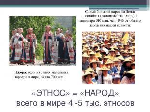 «ЭТНОС» = «НАРОД» всего в мире 4 -5 тыс. этносов Ижора, один из самых маленьких