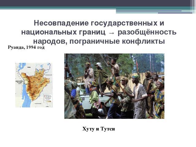 Несовпадение государственных и национальных границ → разобщённость народов, пограничные конфликты Руанда, 1994 год Хуту и Тутси А в середине 90-х годов весь мир был потрясен самым кровопролитным столкновением на этнической почве, которое произошло в…