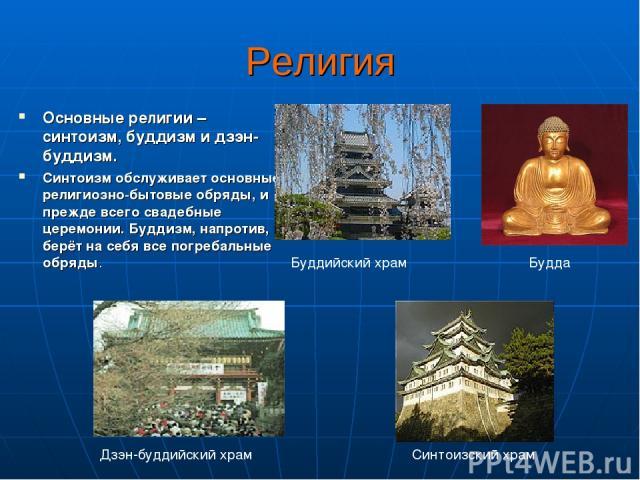 Религия Основные религии – синтоизм, буддизм и дзэн-буддизм. Синтоизм обслуживает основные религиозно-бытовые обряды, и прежде всего свадебные церемонии. Буддизм, напротив, берёт на себя все погребальные обряды. Синтоизский храм Будда Буддийский хра…