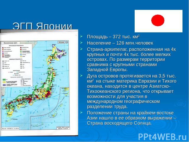ЭГП Японии Площадь – 372 тыс. км2 Население – 126 млн.человек Страна-архипелаг, расположенная на 4х крупных и почти 4х тыс. более мелких островах. По размерам территории сравнима с крупными странами Западной Европы. Дуга островов протягивается на 3,…