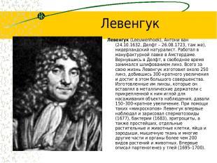 Левенгук Левенгук (Leeuwenhoek), Антони ван (24.10.1632, Делфт – 26.08.1723, там