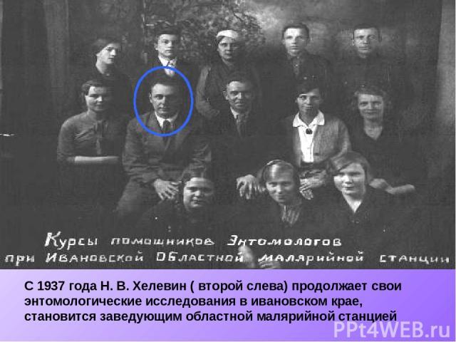С 1937 года Н. В. Хелевин ( второй слева) продолжает свои энтомологические исследования в ивановском крае, становится заведующим областной малярийной станцией