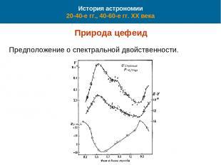 История астрономии 20-40-е гг., 40-60-е гг. XX века Природа цефеид Предположение
