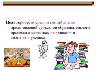 Цель: провести сравнительный анализ представлений субъектов образовательного про