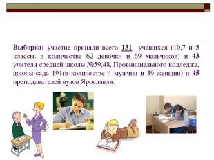 Выборка: участие приняли всего 131 учащихся (10,7 и 5 классы, в количестве 62 де