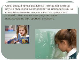 Организация труда школьника - это целая система научно обоснованных мероприятий,
