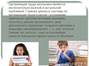 Организация труда школьника является исключительно важной и актуальной проблемой