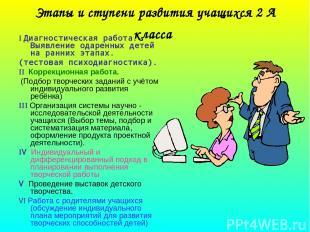 Этапы и ступени развития учащихся 2 А класса I Диагностическая работа. Выявление