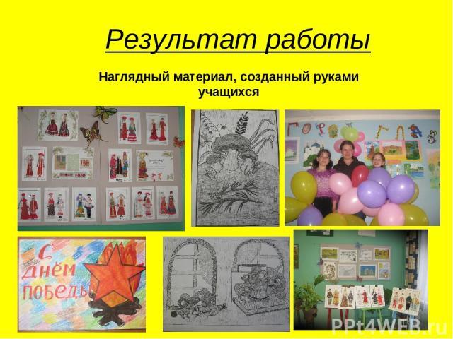 Результат работы Наглядный материал, созданный руками учащихся