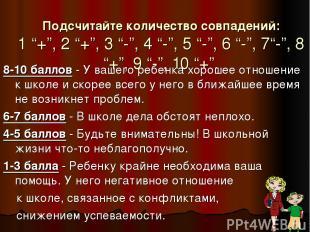 """Подсчитайте количество совпадений: 1 """"+"""", 2 """"+"""", 3 """"-"""", 4 """"-"""", 5 """"-"""", 6 """"-"""", 7""""-"""