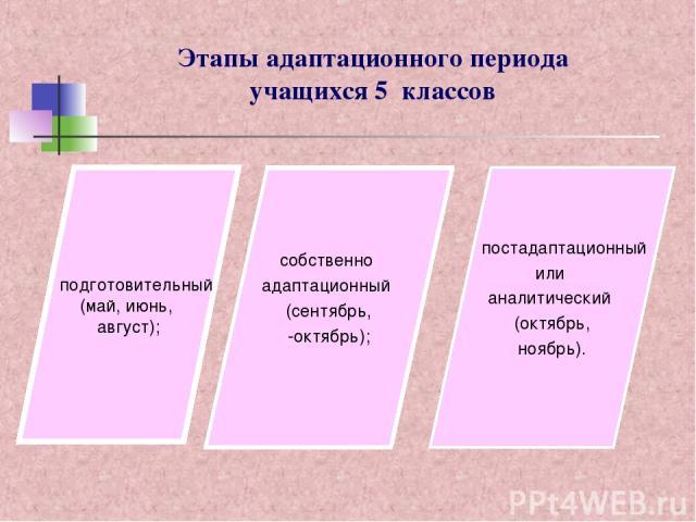 Этапы адаптационного периода учащихся 5 классов подготовительный (май, июнь, август); собственно адаптационный (сентябрь, -октябрь); постадаптационный или аналитический (октябрь, ноябрь).