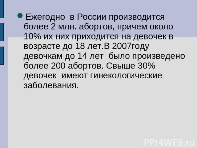 Ежегодно в России производится более 2 млн. абортов, причем около 10% их них приходится на девочек в возрасте до 18 лет.В 2007году девочкам до 14 лет было произведено более 200 абортов. Свыше 30% девочек имеют гинекологические заболевания.
