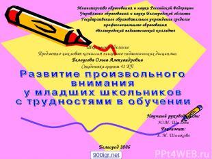 Министерство образования и науки Российской Федерации Управление образования и н