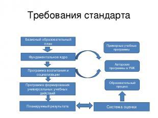 Требования стандарта Базисный образовательный план Фундаментальное ядро Программ