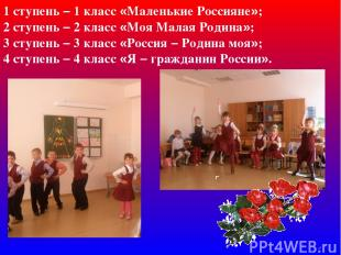 1 ступень – 1 класс «Маленькие Россияне»; 2 ступень – 2 класс «Моя Малая Родина»