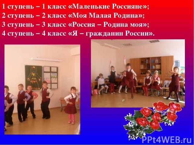 1 ступень – 1 класс «Маленькие Россияне»; 2 ступень – 2 класс «Моя Малая Родина»; 3 ступень – 3 класс «Россия – Родина моя»; 4 ступень – 4 класс «Я – гражданин России».
